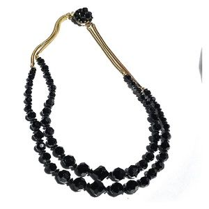 Jewelry - Vintage JetBlack Glass Necklace With Gold Chain